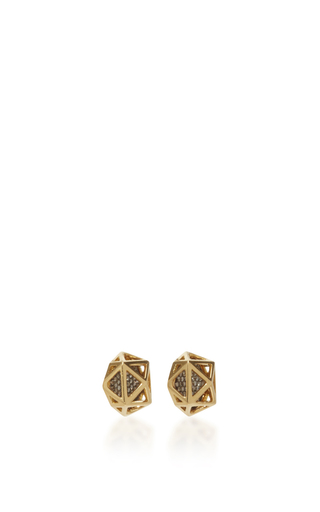 Geometry 101 Cage Octahedron Stud Earrings by NOOR FARES Now Available on Moda Operandi