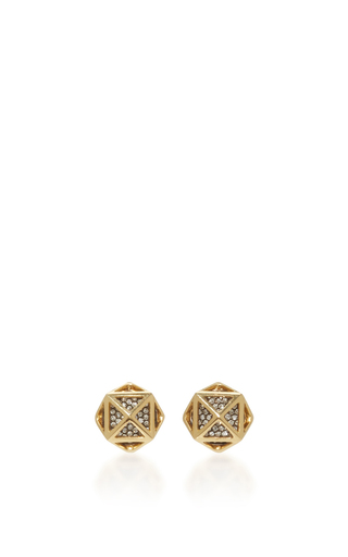 Medium noor fares gold geometry 101 cage octahedron stud earrings