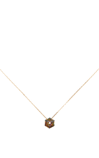 Geometry 101 Rainbow Hollow Icosagon Pendant by NOOR FARES Now Available on Moda Operandi