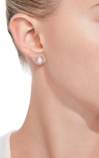 White Rose Cut Moonstone Studs by NINA RUNSDORF Now Available on Moda Operandi