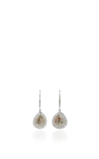 Medium nina runsdorf light grey rose cut pearshape icy diamond earrings