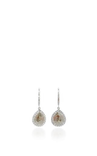 Medium nina runsdorf light grey rose cut pearshape icy diamond earrings