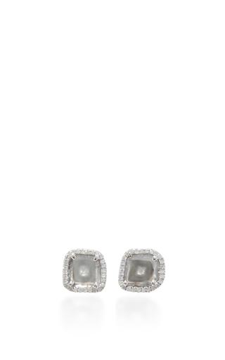 Medium nina runsdorf light grey slice diamond studs 2