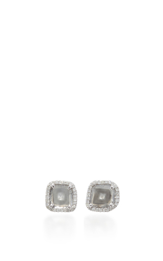 Medium nina runsdorf light grey slice diamond studs 2