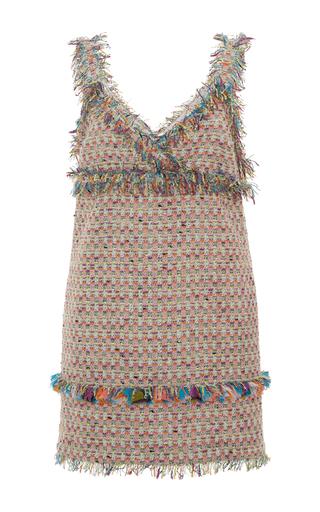 Medium msgm multi msgm fringe tweed mini dress