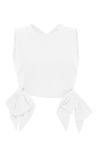 Medium msgm white msgm sleeveless bow top