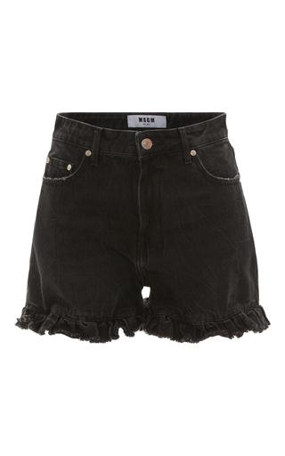 Medium msgm black msgm high rise ruffle shorts