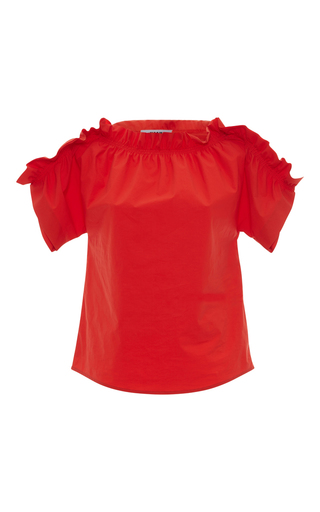 Medium msgm red msgm ruched off the shoulder top