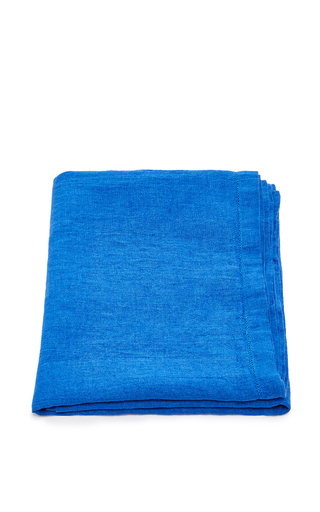 Medium frescobol carioca blue linen beach towel