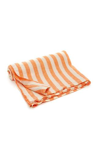 Medium frescobol carioca orange striped linen towel
