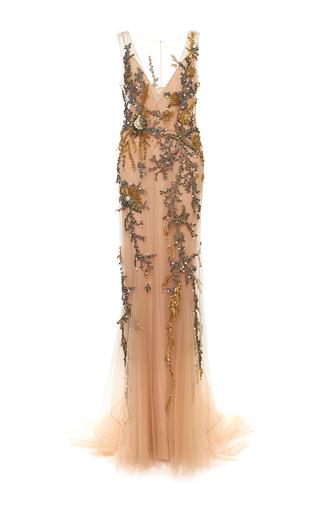 Medium alberta ferretti nude embellished tulle v neck dress