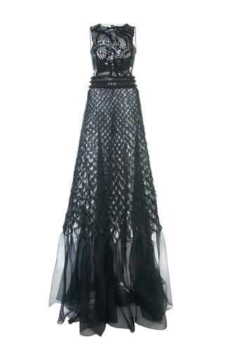 Medium alberta ferretti black embroidered silk organdi gown