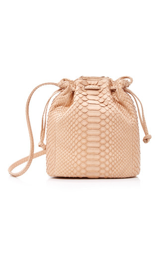 Medium hunting season tan python bucket bag