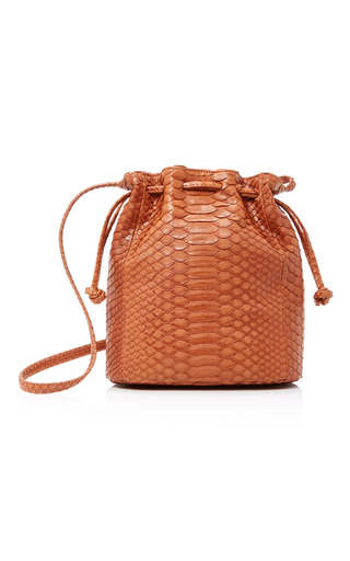 Medium hunting season brown python bucket bag
