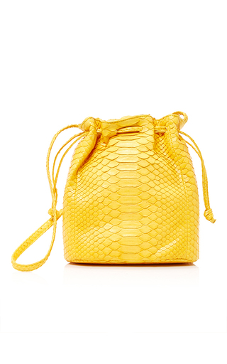 Medium hunting season yellow python bucket bag