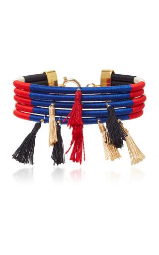 Medium isabel marant navy tasseled gold tone woven bracelet