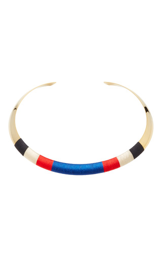 Medium isabel marant navy striped gold tone woven choker