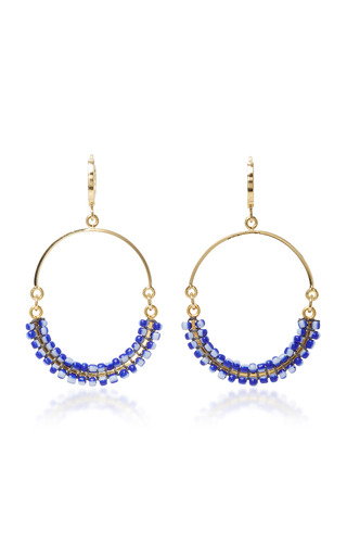 Medium isabel marant navy gold tone resin earrings