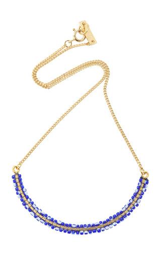 Medium isabel marant navy gold tone beaded necklace