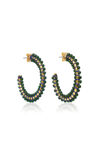 Medium isabel marant green gold tone beaded earrings