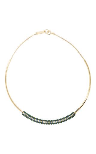 Medium isabel marant green gold tone beaded necklace 2