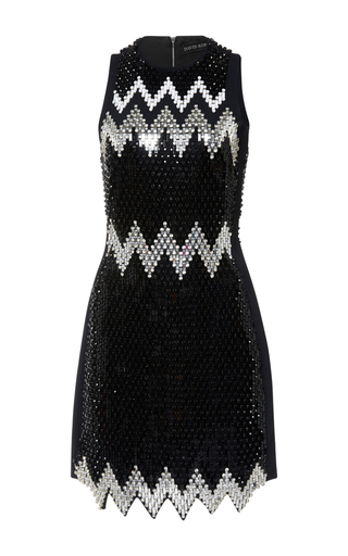Medium david koma black plexi and stones embroidered zig zag hem dress