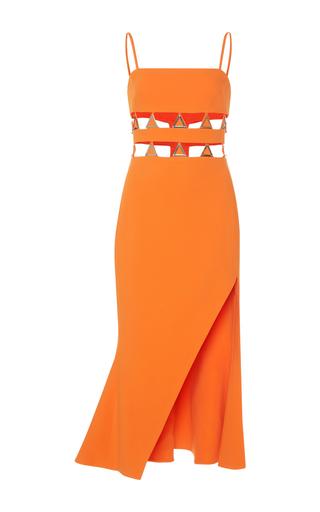 Medium david koma orange metal embroidered asymmetrical hem fit and flare dress
