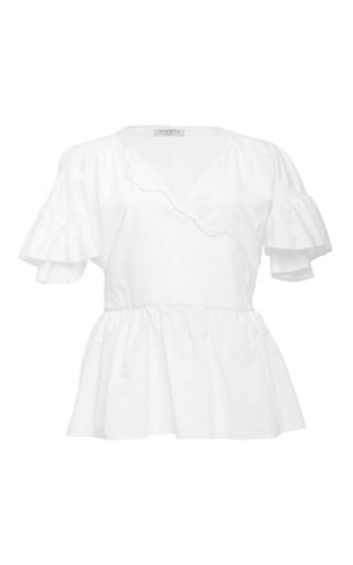 Medium vivetta white flutter peplum blouse
