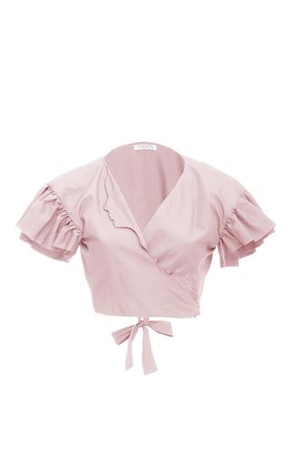 Medium vivetta light pink ruffle sleeve cropped blouse