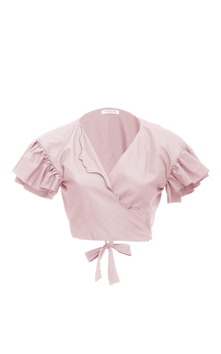 Medium vivetta light pink ruffle sleeve cropped blouse