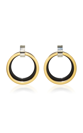Medium marni black black and gold hoop earrings