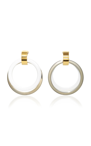 Medium marni white silver and white front facing hoop earrings