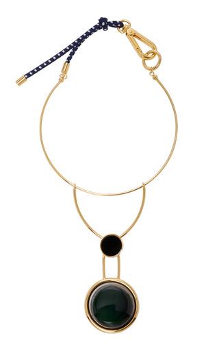 Medium marni green gold tone resin necklace