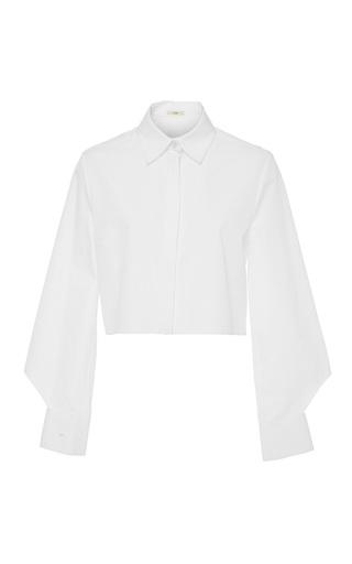 Medium edun white poplin cropped blouse