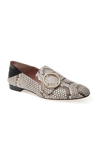 Medium bally light grey python lottie soft loafer