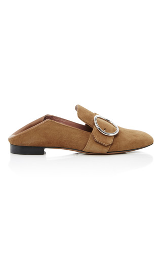 Medium bally tan suede lottie soft loafer 2