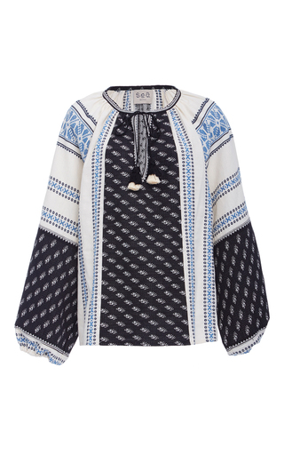 Medium sea print yarn dye long sleeve top