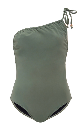 Medium suboo green one shoulder ruched swimsuit