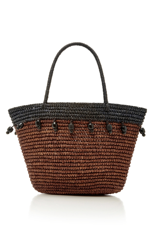 Medium sensi studio brown brown beaded canasta tote