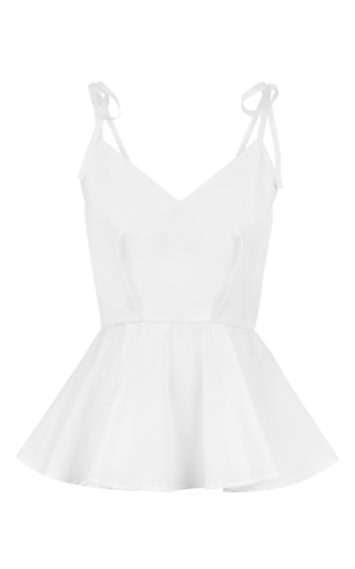 Medium malene oddershede bach white coppice shoulder tie peplum top