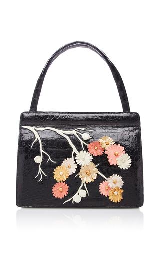 Medium nancy gonzalez black floral top handle bag