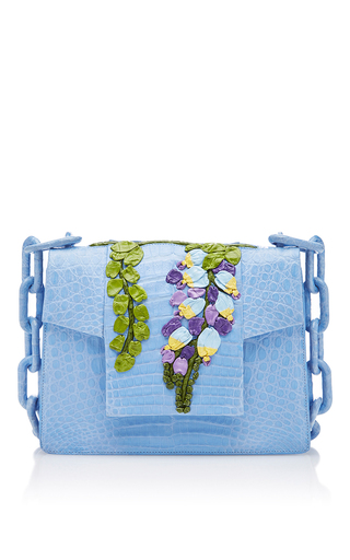 Medium nancy gonzalez light blue floral flap bag