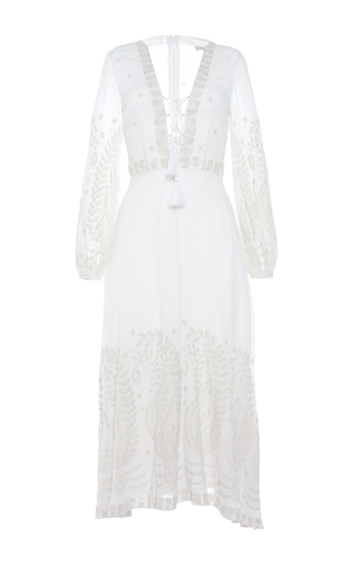 Medium talitha white indian chikan tie front dress