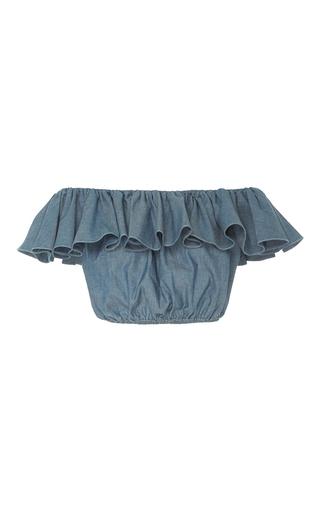 Medium mds stripes blue cropped peasant ruffle top