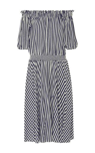 Medium mds stripes stripe slim smocked dress