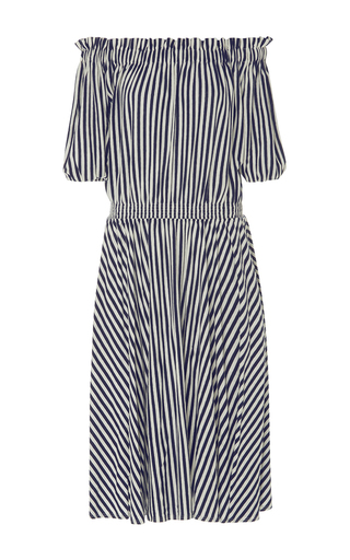 Medium mds stripes stripe slim smocked dress