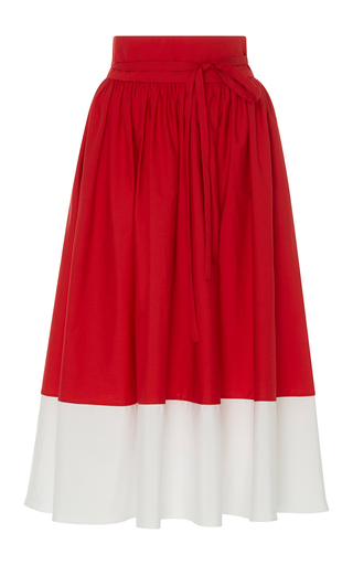 Medium mds stripes red high waist border skirt