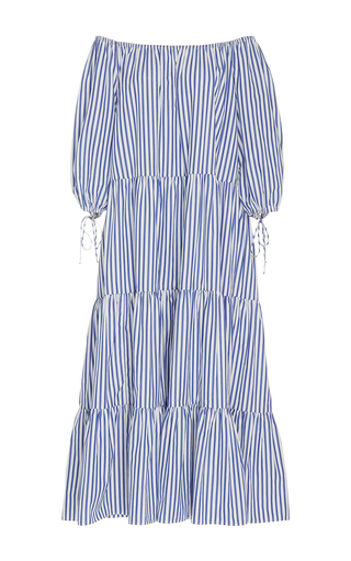 Medium mds stripes stripe blue stripe tiered peasant dress