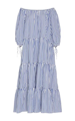 Medium mds stripes stripe blue stripe tiered peasant dress