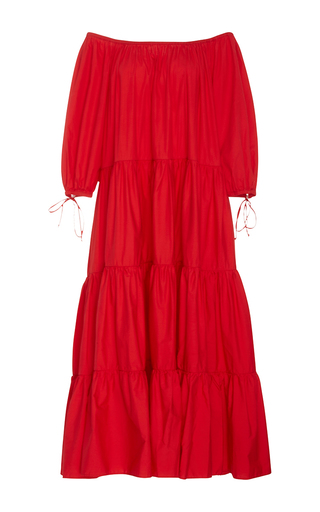 Medium mds stripes red red tiered peasant dress
